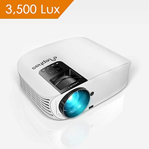 Projector, ELEPHAS [2018 Version] with 3,500 Lux 200 1080P LCD Video Projector Support HDMI VGA AV USB Micro SD Ideal for Home Theater Entertainment Party and Games, White