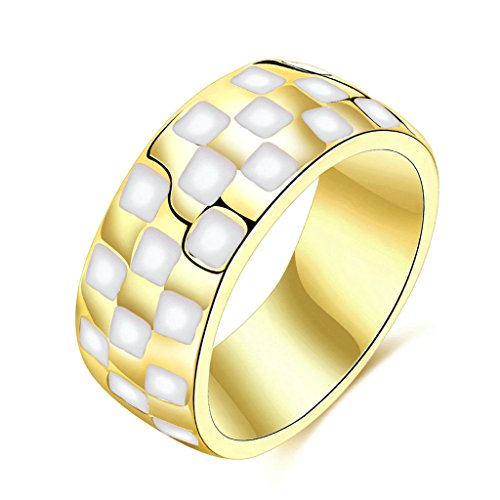 Female Ringmaster Costume Pattern (Bishilin Gold Plated Rings Womens Wedding Ring Carved Checkered Square Pattern Round Gold Rings Size:6)