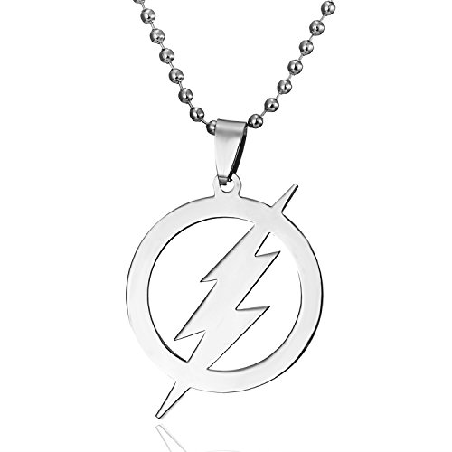 Rinhoo Stainless Steel Superhero Flash Lightning Pendant Necklace Men Jewelry Mens Flash