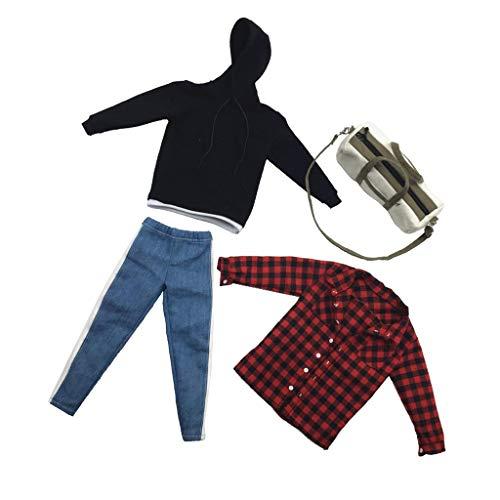 [해외]Flameer 1:6 Scale 남성용 바디 팬츠 후디 백 DML DID 12인치 피규어 DIY 액세서리 / Flameer 1:6 Scale Mens Body Pants Hoodie Bag for DML DID 12inch Figure DIY Accessories
