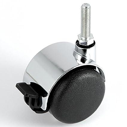 Möbelrolle 50 mm Gewinde M8 x 15 Hartbodenrolle Chrom mit Bremse Lenkrolle