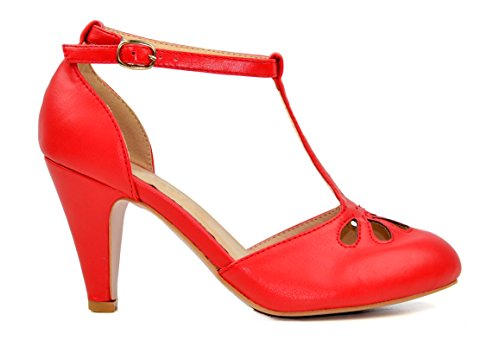 Chase & Chloe Kimmy-36 Womens Teardrop Cut Out T-Strap Mid Heel Dress Pumps Red Pu