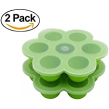 2Packs Silicone Egg Bites Molds for Instant Pot Accessories, Fits Instant Pot 5,6,8 qt Pressure Cooker, 7Cups Baby Food Storage Freezer Trays with Clip-On Lid(Green)