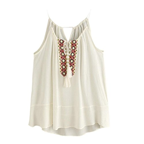 Lisingtool Blouse,Tasselled Drawstring Neck Embroidered Cami Top Tank Tops T shirt (X-Large, Beige) Embroidered Cami Set