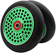 2Pcs Replacement 110 mm Pro Stunt Scooter Wheel with ABEC 9 Bearings Fit for MGP/Razor/Lucky Pro Scooters (Gre