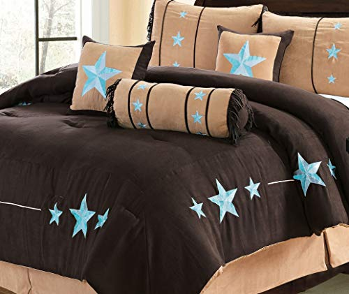(7 Piece Luxury Suede Western Lodge Oversize and Overfilled Star Comforter Set (Coffee/Blue, Queen))