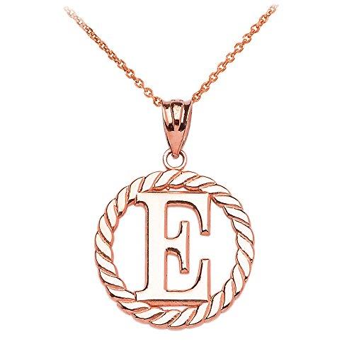 """Collier Femme Pendentif 14 Ct Or Rose """"E"""" Initiale À Corde Cercle (Livré avec une 45cm Chaîne)"""