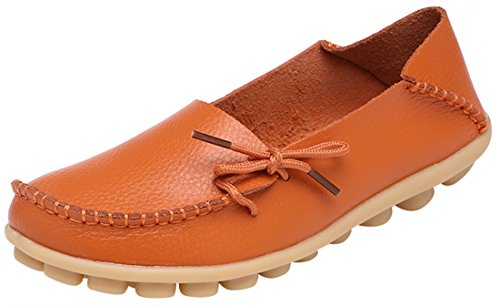 Serene Womens Orange Leather Cowhide Casual Lace Up Flat Driving Shoes Boat Slip-On Loafers - Size -
