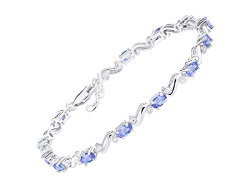 Stunning Tanzanite & Diamond S Tennis Bracelet Set in Sterling Silver - Adjustable to fit 7
