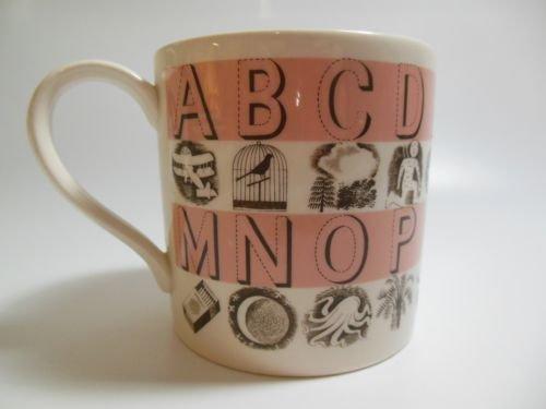 - 2001 Wedgwood England Martha Stewart Earthenware Pink Alphabet Child's Mug