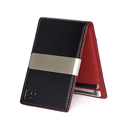 F&H Minimalist Slim Leather Wallet Money Clip Holds 8 Cards ()