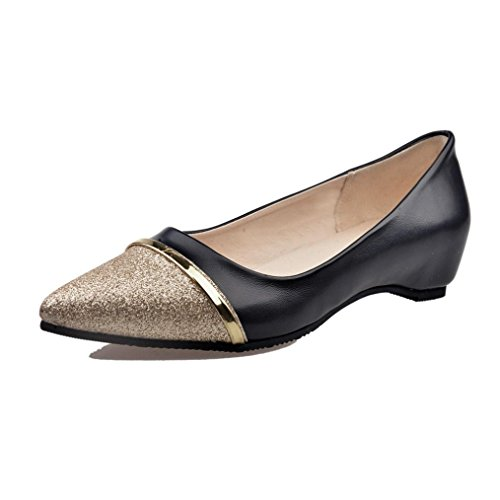 Women's Classic Pointy Toe Flat Shoes,Casual Leather Loafers for Party Work Business (Black, US:6.5)
