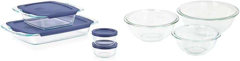 Pyrex Grab Glass Bakeware and Food Storage Set, 8-Piece, Clear & Glass Mixing Bowl Set (3-Piece Set, Nesting, Microwave and Dishwasher Safe)