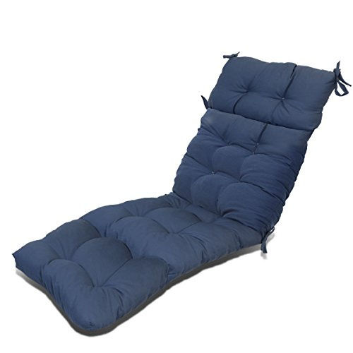 Magshion Outdoor Patio Pretty Wicker Chaise Lounge Chair Cushion Made in USA (Navy Blue) by Magshion