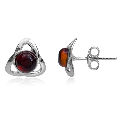 - Cherry Amber Sterling Silver Celtic Irish Stud Earrings
