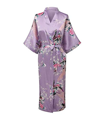 (Rankeit Bathrobe Women Wedding Bride Bridesmaid Robe Nightgown Sleepwear Flower Kimono Gown Plus Size S-XXXL,Light Purple,Small)