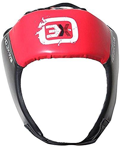 Casco de 3X para proteger la cabeza en deportes de lucha, de piel, casco completo, color negro, tamaño Large 3xsports