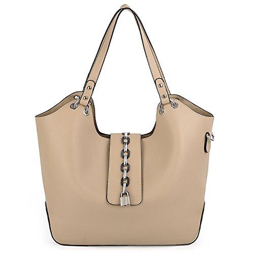 UTO Women Tote Bag 2 Pcs Snap Shoulder Purse Smooth Soft PU Leather Large Capacity Lock Decorated Handbags - Leather Apricot Handbag