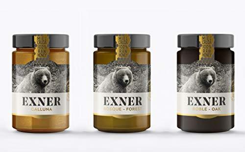 EXNER 100% Artisanale Rauwe Honing, Raw Honey, 3 soorten: CALLUNA HEIDE (420 gr) EIK (450 gr) en BOS (450 gr), – Natuur…