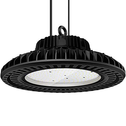 LED High Bay Light150W UFO LED High Bay Lighting Daylight 5000K 19500Lumens 0-10V dimmable CRI80 IP65 Waterproof Dustproof Industrial Grade Warehouse Fixture Factory Shed Roof Lamp ETL Certified