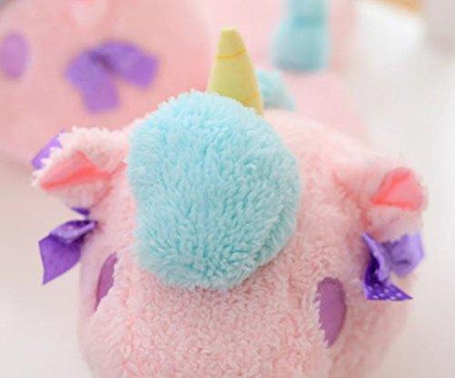 Tokyo-t Womens Dyre Tøfler Unicorn Søte Hjem Sko Plysj Rosa Fluffy Størrelse 5-7