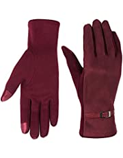 Women Winter Gloves Touch Screen Fingers,Warm Smartphone Texting Mittens Burgundy
