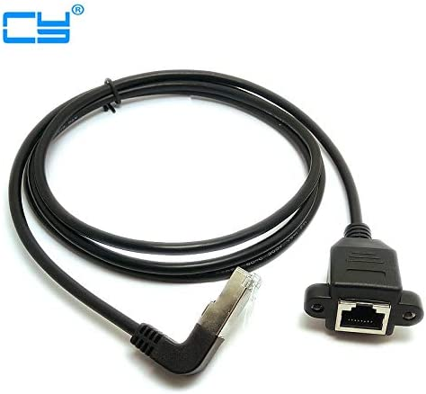 Connectors Down Angled 90 Degree 8P8C FTP STP UTP Cat 5e RJ45 Male to Female LAN Ethernet Network Extension Cable 0.3m 1m 1.5m - Cable Length: 150cm with Screw