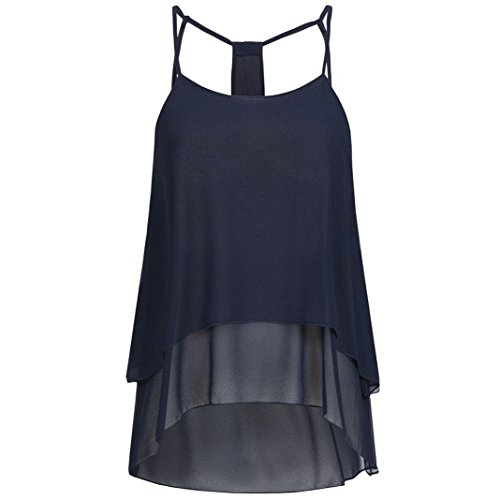 DEATU Cheap Clearance Cheap Clearance! Women Cool Casual Chiffon O-Neck Off Shoulder Open Back T-Shirt Sleeveless Tops Blouse (Navy, M) -