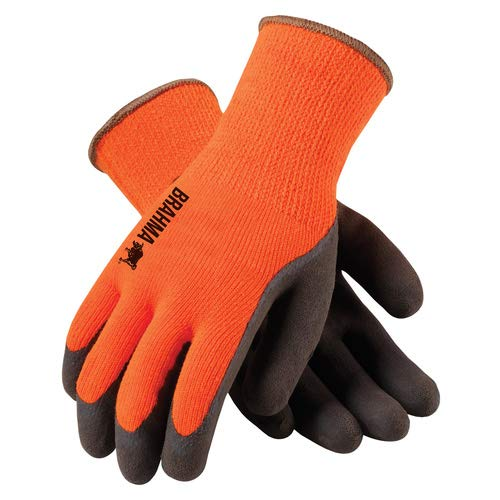 PIP WA1403A Tek Seamless Knit Latex Grip Work Glove Large, Orange & Brown ()