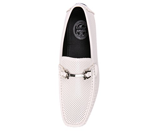 Slip Men's Moccasin Easy White Shoe Perforated Comfortable Driving Loafer Patent On Amali gw8ZdqfZ