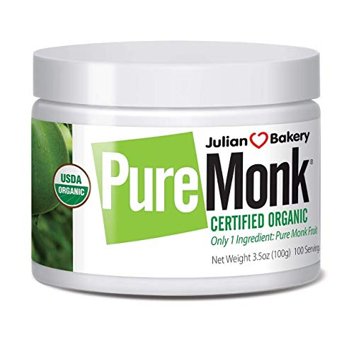 Organic Pure Monk (Monk Fruit Extract) 100 Servings 3.5 oz Paleo Sugar Free Sweetener (Extract Low Organic Alcohol)