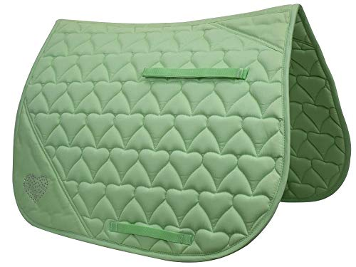 (Derby Originals All Purpose Crystal Hearts Saddle Pad, Lime Green)