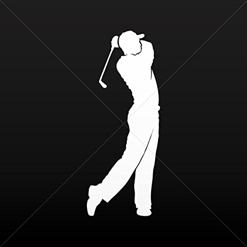 Golf Sport Figure - Stickers Decal Golf Player Figure Car door Hobbies Sports ca White (5 X 1.98 Inches)