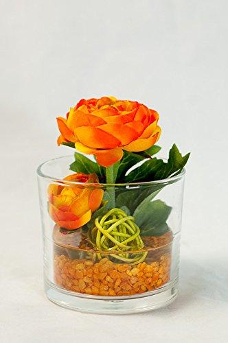Tischgesteck Mit Orangefarbenen Ranunkeln Im Glas Tischdeko Mit