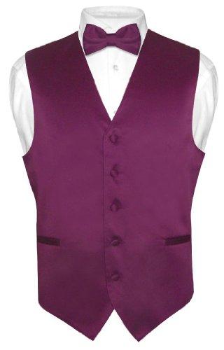 owtie Solid Eggplant Purple Color Bow Tie Set Large ()