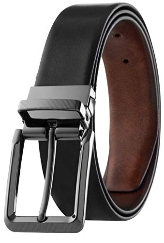 Mens Top Grain Leather Reversible Belt Italian Leather Black Marble Design, (Size 44)