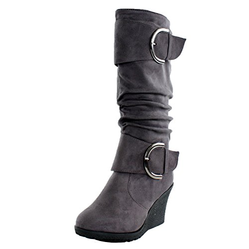 TOP Moda Pure 2 Womens Buckle Slouch Wedge Boots Grey 10