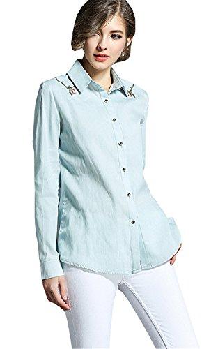 JOTHIN Primavera Autunno Manica Lunga Camicioni Ricamo Unicolor Tops Bavero Basic Camicetta Eleganti Fashion Camicia da Lavoro Donna