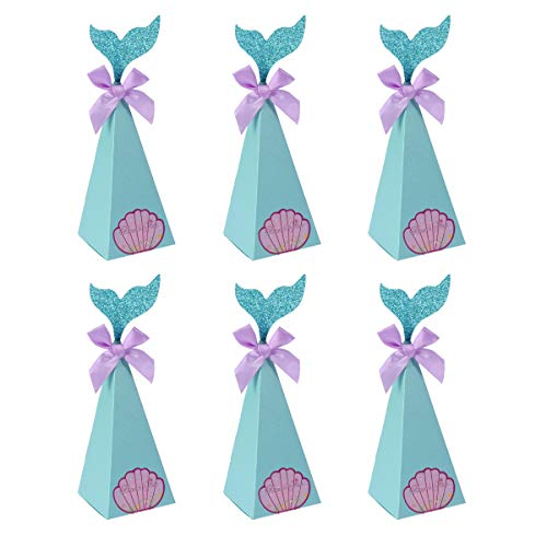 Amosfun Candy Box Mermaid Theme Candy Box Party Supplies for Birthday Wedding Baby Shower Theme Party 10Pcs -