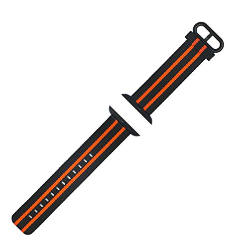 Watch Bands for Apple Watch - 42mm Nylon Watch Strap with Stainless Steel Buckle - Great Wristband Replacement for Superior Wrist Comfort (Black and Orange)