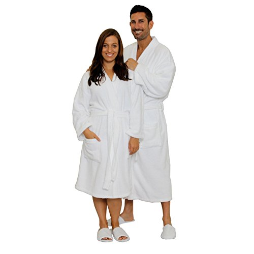 Men's Terry Robe Women's Terry Cloth Bathrobe Terry Kimono Collar Hotel Bathrobe White One Size