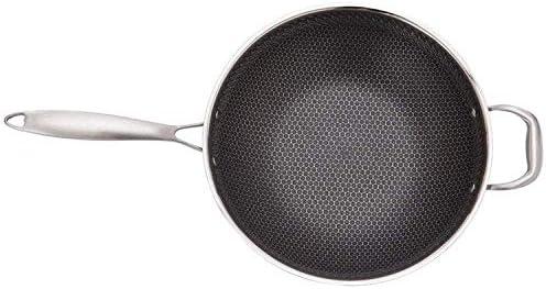 AMYZ Poêle à Induction Wok Pan,Batterie de Cuisine en Acier Inoxydable 304,poêle à Frire antiadhésive Non revêtue,Convient pour cuisinière à gaz cuisinière électrique-34cm