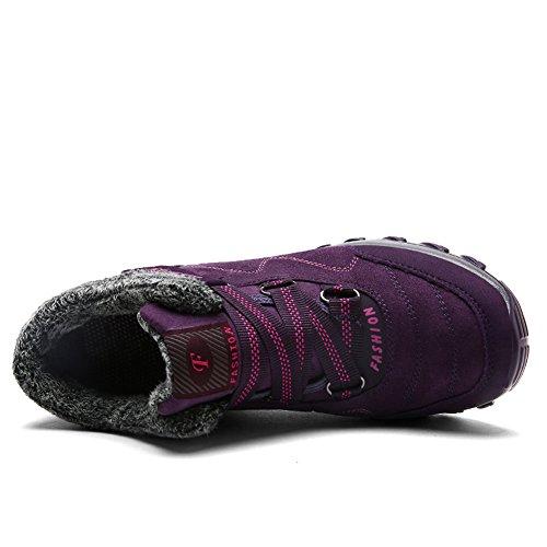 Gomneer Dames Wandelschoenen Trekkingschoen Warm Bont Gevoerde Hoogbouw Antislip Outdoor Winter Sneakers Paars