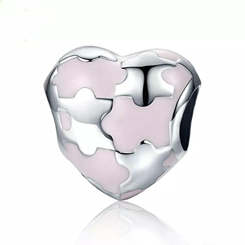 (Autism Puzzle Charm 925 Sterling Silver Bead Puzzle Piece Dangle Fits Pandora Charm Beads (Pink))