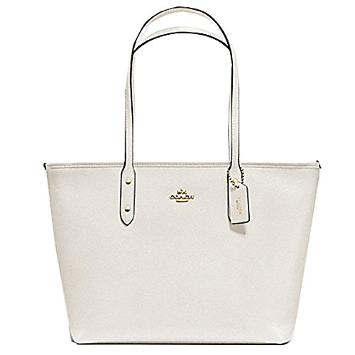 Coach F58846 Crossgrain City Zip Top Tote Chalk Leather Handbag (Coach Purse Outlet)