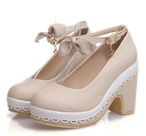 CHFSO Womens Round Toe Ankle Strap Pendant Platform Lace High Heel Pumps Shoes Beige 0B3if