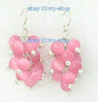 FidgetFidget Round 6mm Pink Cat's Eye Opal Grape Cluster Earrings Silver Hook