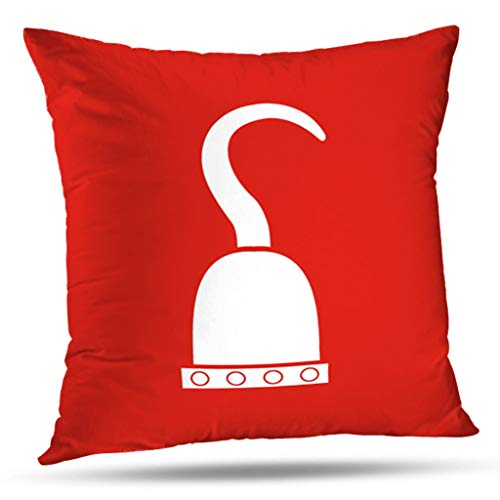 KJONG Pirate Hook In Red And White Zippered Pillow Cover,18X18 inch Square Decorative Throw Pillow Case Fashion Style Cushion Covers(Two Sides Print)
