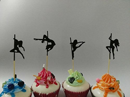 Various Designs of Sexy Pole Dancers/High Heels/Corset/Champagne Glasses/Bride & Groom Cupcake Toppers for Birthday/Bridal Sower/Weddingd/New Years Events/Party sets of 12… (Dancer (Heel Corset)
