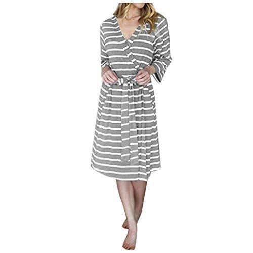 Crytech Women Striped Maternity Labor Delivery Robe 3/4 Long Sleeve Stripe Breastfeeding Nursing Nightgowns Gowns for Hospital Pregnancy Bathrobe Sleep Dress (Small, Grey)